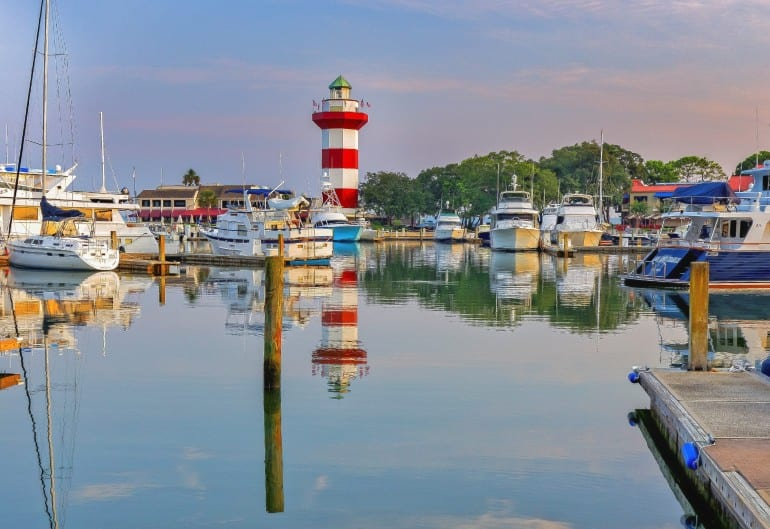 Harbor with lighthouse on Hilton Head Island