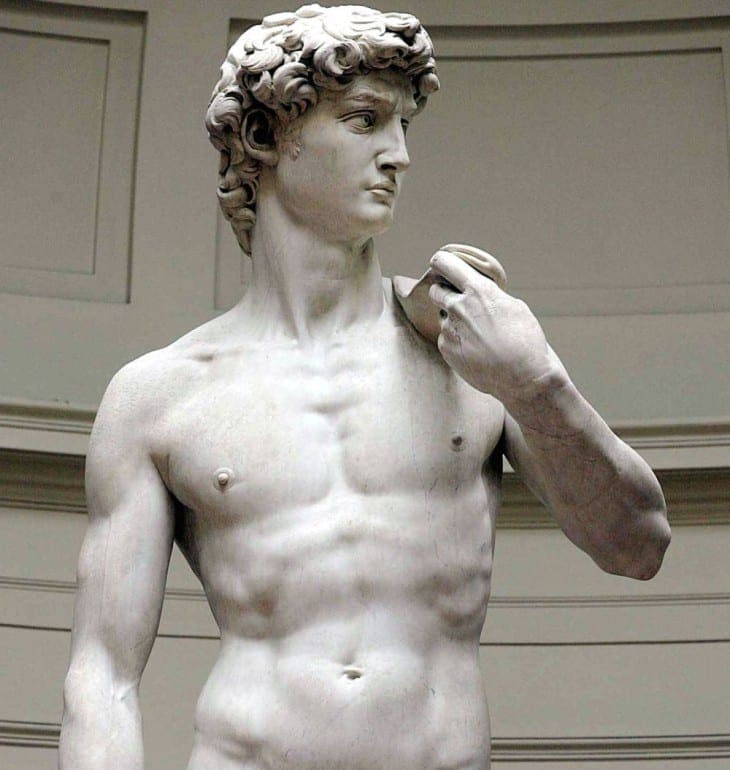 "Michelangelo's marble statue of ""David"" is seen at the dome of Florence's Accademia Gallery, Italy, Monday, May, 24, 2004. The contested cleaning of ""David'' is done, with decades of grayish grime stripped from Michelangelo's towering tribute to nude male beauty months ahead of the 500th anniversary celebrations for the masterpiece. (AP Photo/Fabrizio Giovannozzi) ORG XMIT: FLO106"
