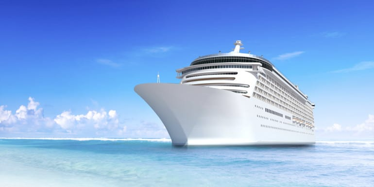Cruise Ship with Wonderful Tropical Beach